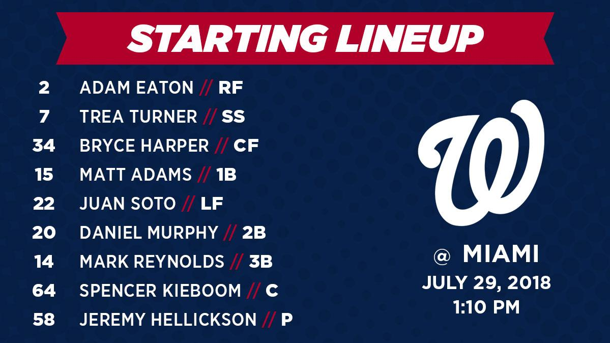 Nationals Lineup for 7/29/18