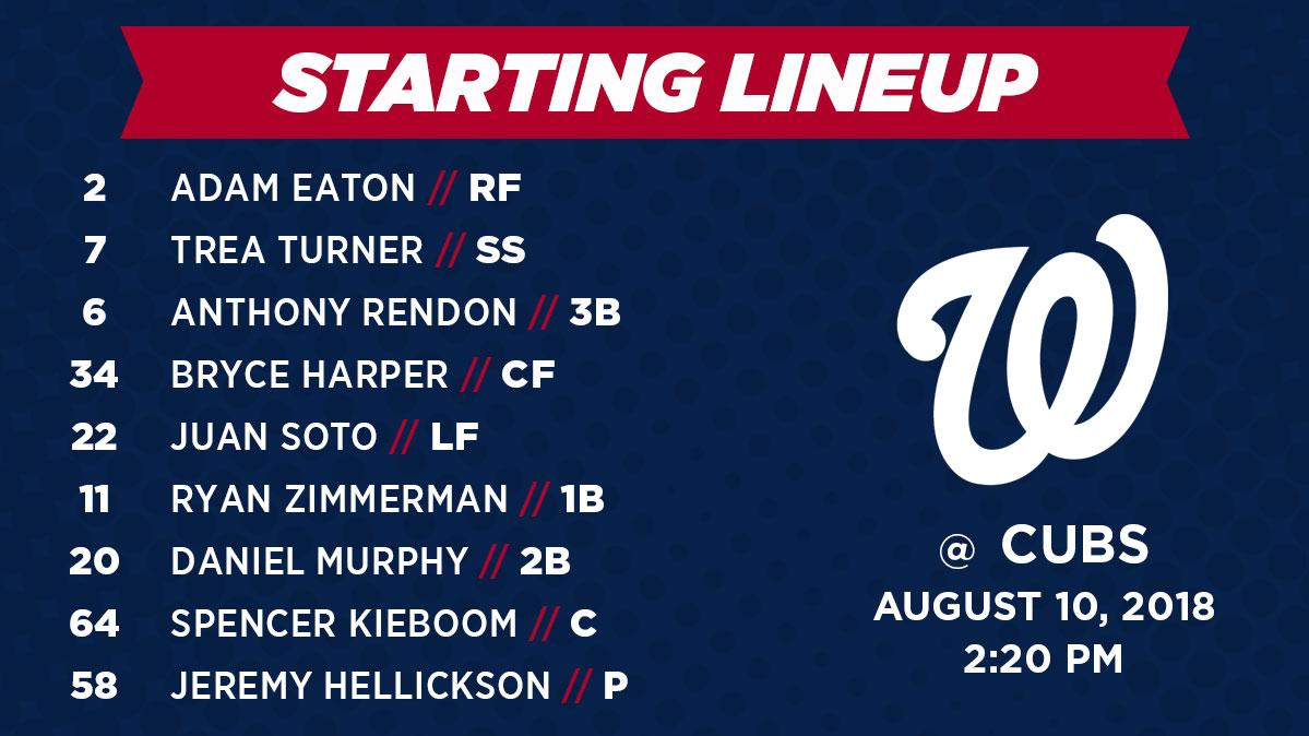 Nationals Lineup: 8/10/2018