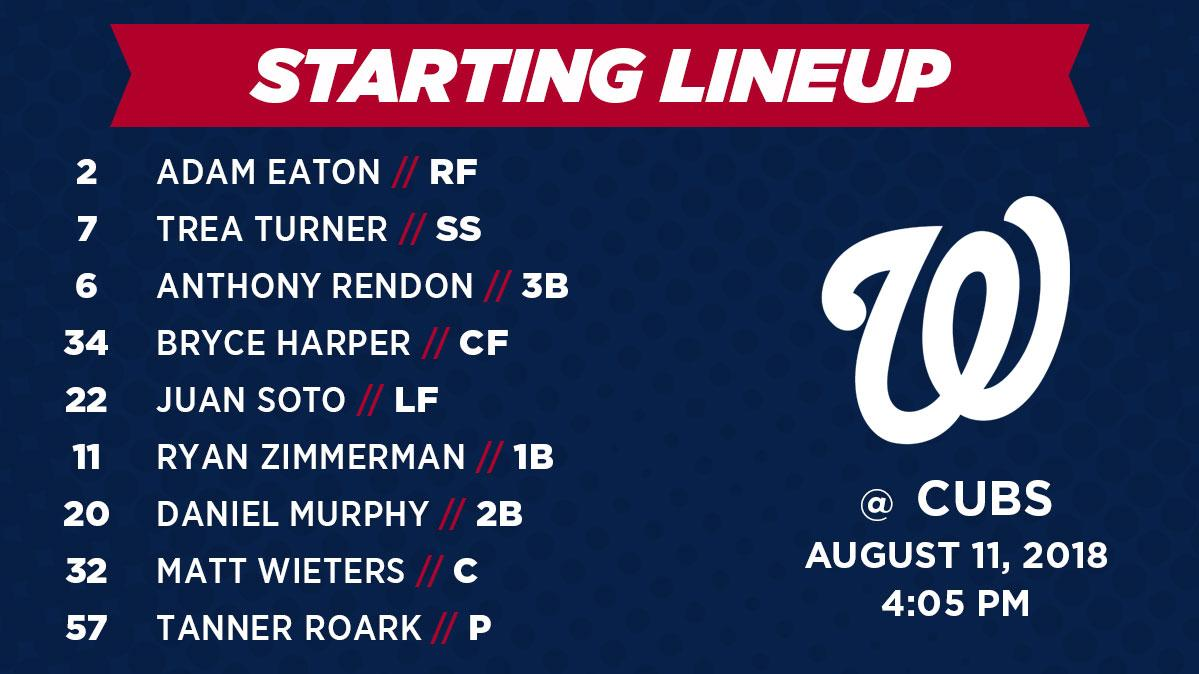 Nationals Lineup 8/11/2018
