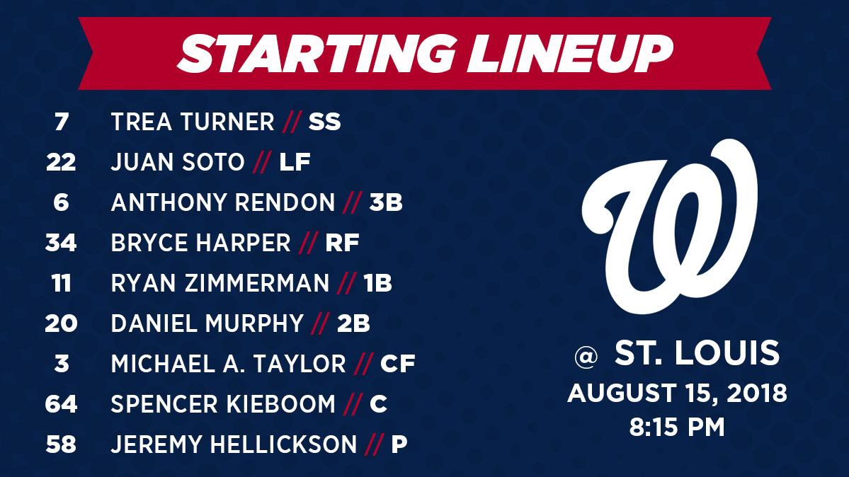 Washington Nationals lineup: 8/15/2018