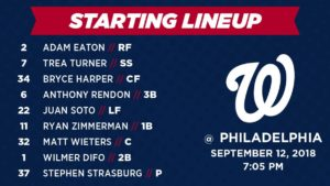 Washington Nationals lineup: 9-12-2018