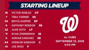 Washington Nationals lineup: 9-13-2018