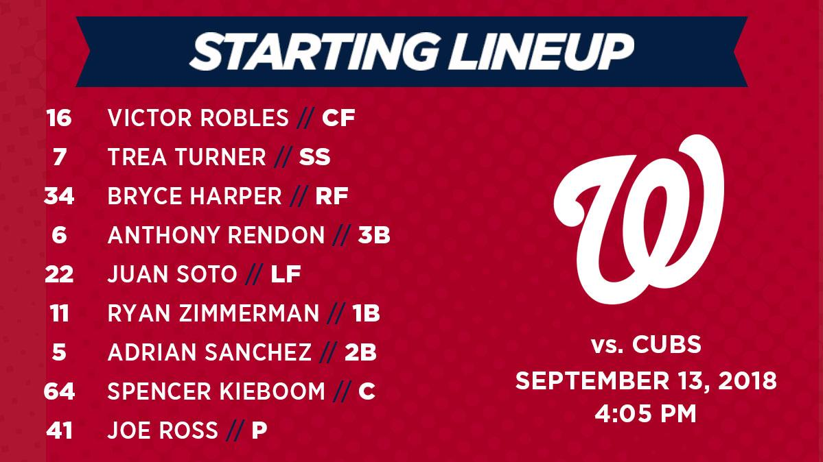 Washington Nationals lineup: 9-13-2018