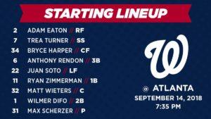 Washington Nationals Lineup: 9-14-2018