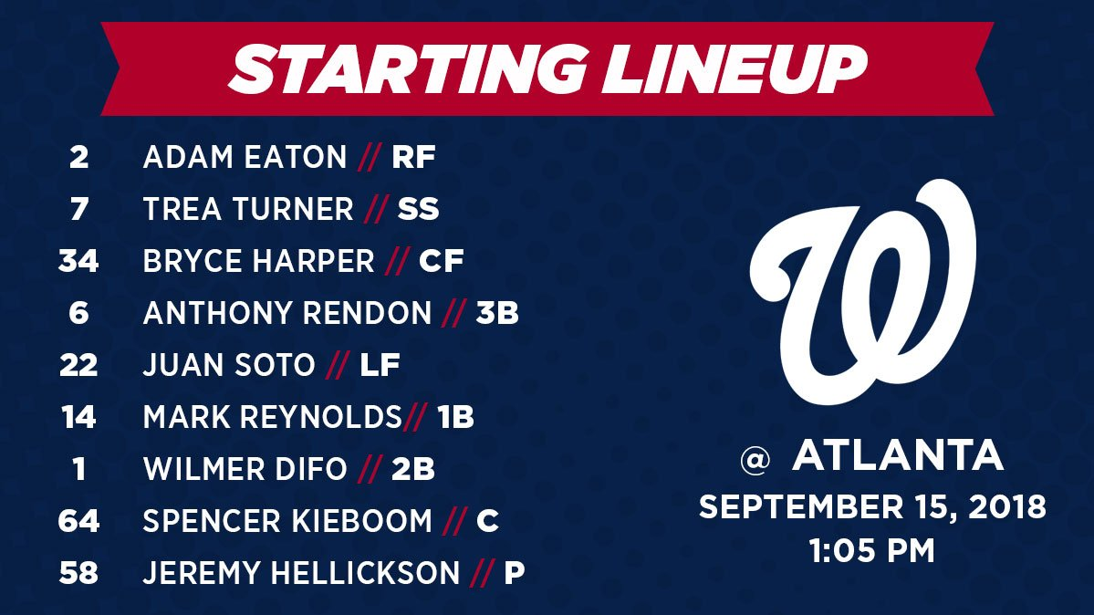 Washington Nationals Lineup: 9-15-2018