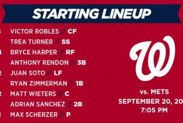 Washington Nationals Lineup: 9-20-18