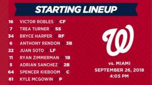 Washington Nationals lineup: 9-26-2018