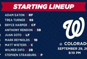 Washington Nationals Lineup: 9-29-18