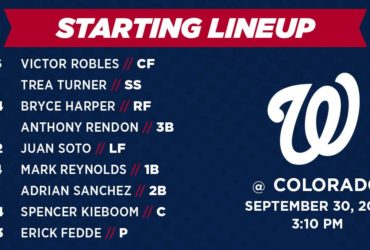Washington Nationals Lineup: 9-30-18