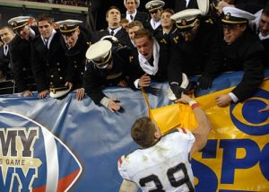 Navy Midshipmen celebrate with fans