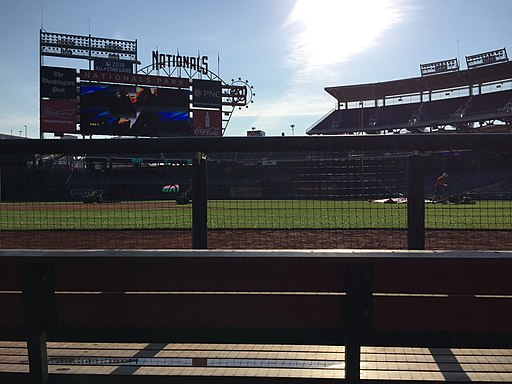 Looking out from the visitor's dugout to the Nationals scoreboard at Nationals Park