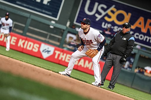 Brian Dozier of the Minnesota Twins readies for play in the infield.