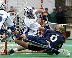 "A ""dive shot"" in men's lacrosse"