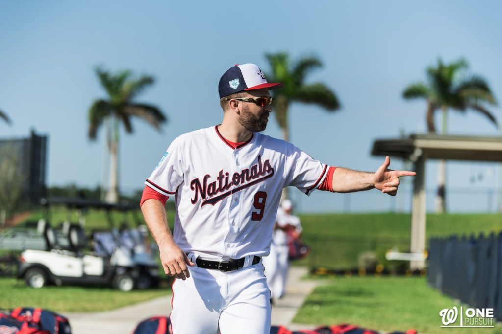 Brian Dozier in Nationals' uniform on the field.