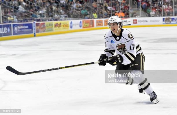 HERSHEY, PA - DECEMBER 01: Hershey Bears center Mike Sgarbossa (17) back checks during the Springfield Thunderbirds at Hershey Bears on December 1, 2018 at the Giant Center in Hershey, PA. (Photo by Randy Litzinger/Icon Sportswire via Getty Images)